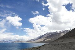 Beautiful pangong lakes looking towards South East Stock Photos