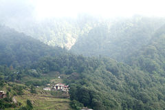 Beautiful Pangot Village in Himalayas Royalty Free Stock Images