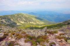 Beautiful panoram of Retezat mountains. On a beautiful cloudy day Royalty Free Stock Photos
