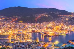 Beautiful Panorama Aerial View of Nagasaki Skyline at night stock images