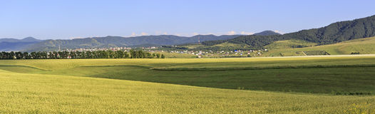 Beautiful panorama agricultural fields and the Royalty Free Stock Photography