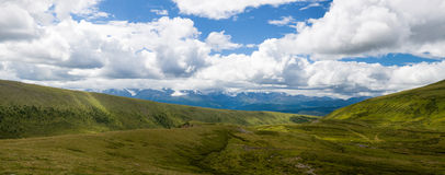 Beautiful panorama of Alps in summer. Panorama of the Altai Mountains on the background of blue sky royalty free stock photos
