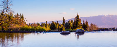 Beautiful panorama background with Lake, stone Royalty Free Stock Photos