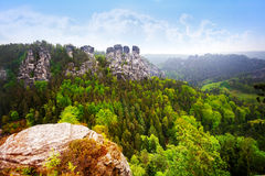 Beautiful panorama of Bastei, Sachsische Schweiz. Near Dresden area, Germany Stock Image
