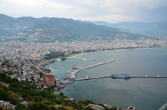Beautiful panorama of the Bay of Antalya, old harbour and tower Royalty Free Stock Image