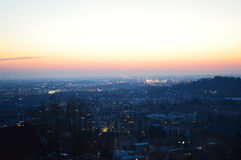 Beautiful Panorama of Bergamo City, Sunset, Lombardy Italy of Lake Lecco in the fall, Lombardy Italy. Panorama of Bergamo City, Sunset, Lombardy Italy stock images
