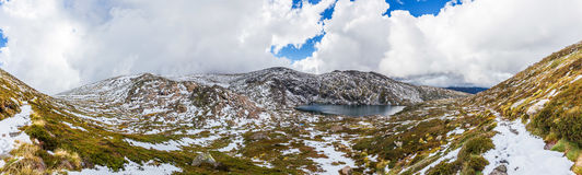 Beautiful Panorama of Blue Lake and snow covered mountains. Kosc. Iuszko National Park, Australia Royalty Free Stock Images