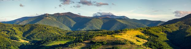 Beautiful panorama of Borzhava mountain ridge. In the evening. wonderful landscape in early autumn. view from Abranka village Royalty Free Stock Images