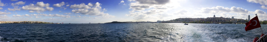 Beautiful panorama of both the European and Asian parts of Istanbul Royalty Free Stock Photography