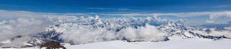 Beautiful panorama of Caucasian mountains. Main caucasian mountain range, snowy peaks stock images