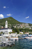 Beautiful panorama of Cernobbio town, on shore of Como lake Royalty Free Stock Photography