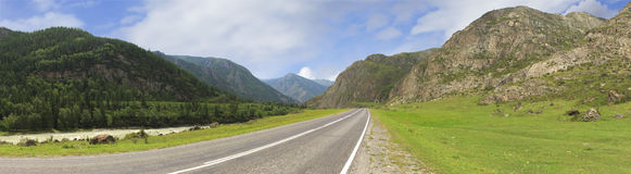Beautiful panorama of Chuysky Trakt in Altai Stock Photos