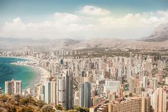 Beautiful panorama city view with sea and beach stock photo