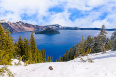 Beautiful Panorama of Crater Lake Stock Images