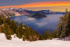 Beautiful Panorama of Crater Lake Royalty Free Stock Images