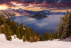 Beautiful Panorama of Crater Lake Royalty Free Stock Image