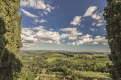 Beautiful panorama of the Crete Senesi seen from San Gimignano, Italy stock photography