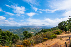 Beautiful panorama of the distant mountains of Sicily Stock Photos