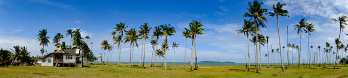 Beautiful panorama, fisherman village located at Terengganu, Malaysia. At sunny day with blue sky background stock images