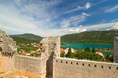 Beautiful panorama of Fortress and walls in Mali Ston, Croatia Stock Image