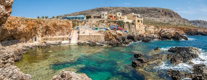Beautiful panorama of Ghar Lapsi in Southern Malta, diving place Royalty Free Stock Photos