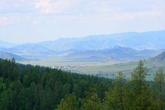 Panorama of the highlands, pastel color, early morning royalty free stock images