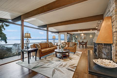 Beautiful panorama house interior, great/family room Royalty Free Stock Image