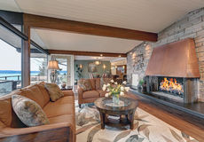 Beautiful panorama house interior, great/family room Stock Photography
