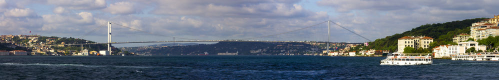 Beautiful panorama of Istanbul and the euro-asian bridge Royalty Free Stock Photography