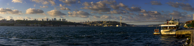 Beautiful panorama of Istanbul and the euro-asian bridge and a small harbor Stock Image