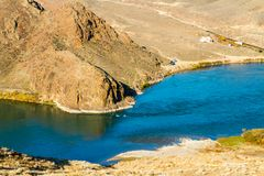 Beautiful panorama of Kazakh mountain and lake Ili, Kazakhstan. Royalty Free Stock Photo