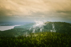 A beautiful panorama of lake and forest Royalty Free Stock Images