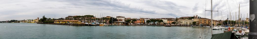 Beautiful panorama of Lake Garda in Italy royalty free stock images