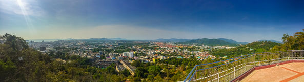 Beautiful panorama landscape in 180 degrees view of Phuket city Royalty Free Stock Photos