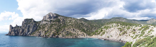 Beautiful panorama landscape to the sea coast with rocks Royalty Free Stock Image