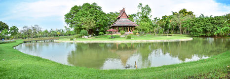 A beautiful panorama landscape tree and pavilion Thai style of a Stock Images