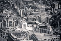 Beautiful panorama of London city taken from above in black and white. Beautiful panorama of London city taken from above, United Kingdom in black and white stock image