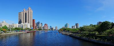 Beautiful Panorama of the Love River in Taiwan. KAOHSIUNG, TAIWAN -- MAY 27, 2016: A panoramic view of the Love River on a beautiful summer day royalty free stock photos