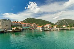 Beautiful panorama of the Mali Ston Town, Adriatic Sea, Croatia Royalty Free Stock Images