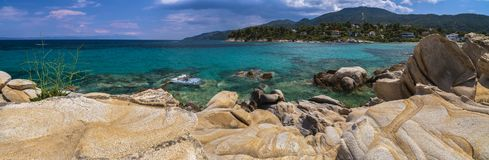 Beautiful panorama with the Mediterranean sea in Greece. crystal. And colorful water, rocks, vegetation, beac stock photography