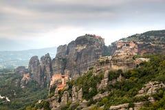 Beautiful panorama on Meteora Monasteries - wonder of Greece Stock Photography