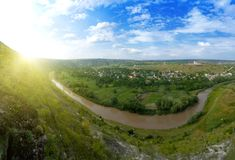 Beautiful panorama of moldavian landscape Royalty Free Stock Photography