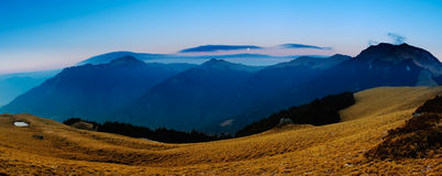 Beautiful panorama mountain landscape with golden stock photo