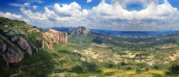 Beautiful panorama mountain landscape . Beautiful mountain landscape.Mallos de Riglos.Spain Royalty Free Stock Images