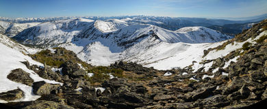 Beautiful panorama of mountains. In Russia stock images