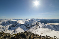 Beautiful panorama of mountains. In Siberia royalty free stock photo