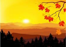 Beautiful Panorama of mountains. Sunset. Mist Stock Photography
