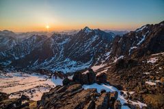 Beautiful panorama of mountains at sunset. In Russia royalty free stock photos