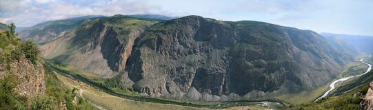 Beautiful panorama of mountains and twisting river, rest in remote area of Altai