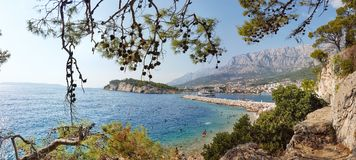 Beautiful panorama of the city of Makarska in Croatia royalty free stock photography